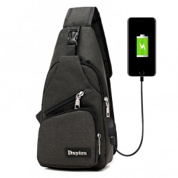 Chest, shoulder, waist bag with USB charging interface