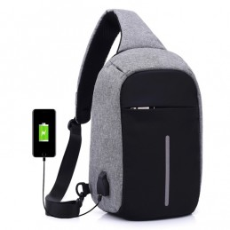Anti-theft chest bag with unisex USB charging interface