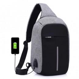 Bolso de pecho antirrobo con interfaz de carga USB unisex